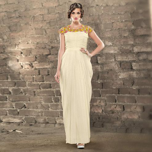 Elegant Off-White Colored Designer Embroidered Partywear Jacquard Gown