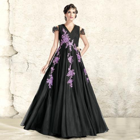 Precious Black Colored Designer Embroidered Partywear Net And Satin Gown