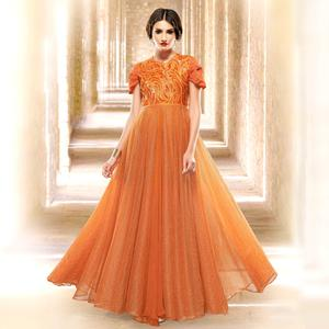 Mesmerising Orange Colored Designer Embroidered Partywear Jacquard Gown
