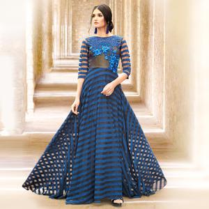 Gorgeous Blue Colored Designer Embroidered Partywear Satin Gown