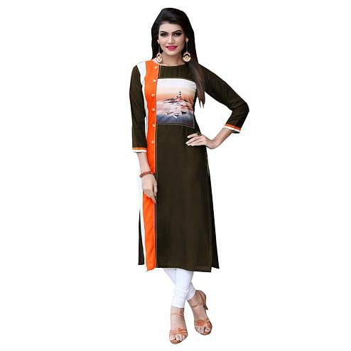 Stylish Black Colored Casual Printed Rayon Kurti
