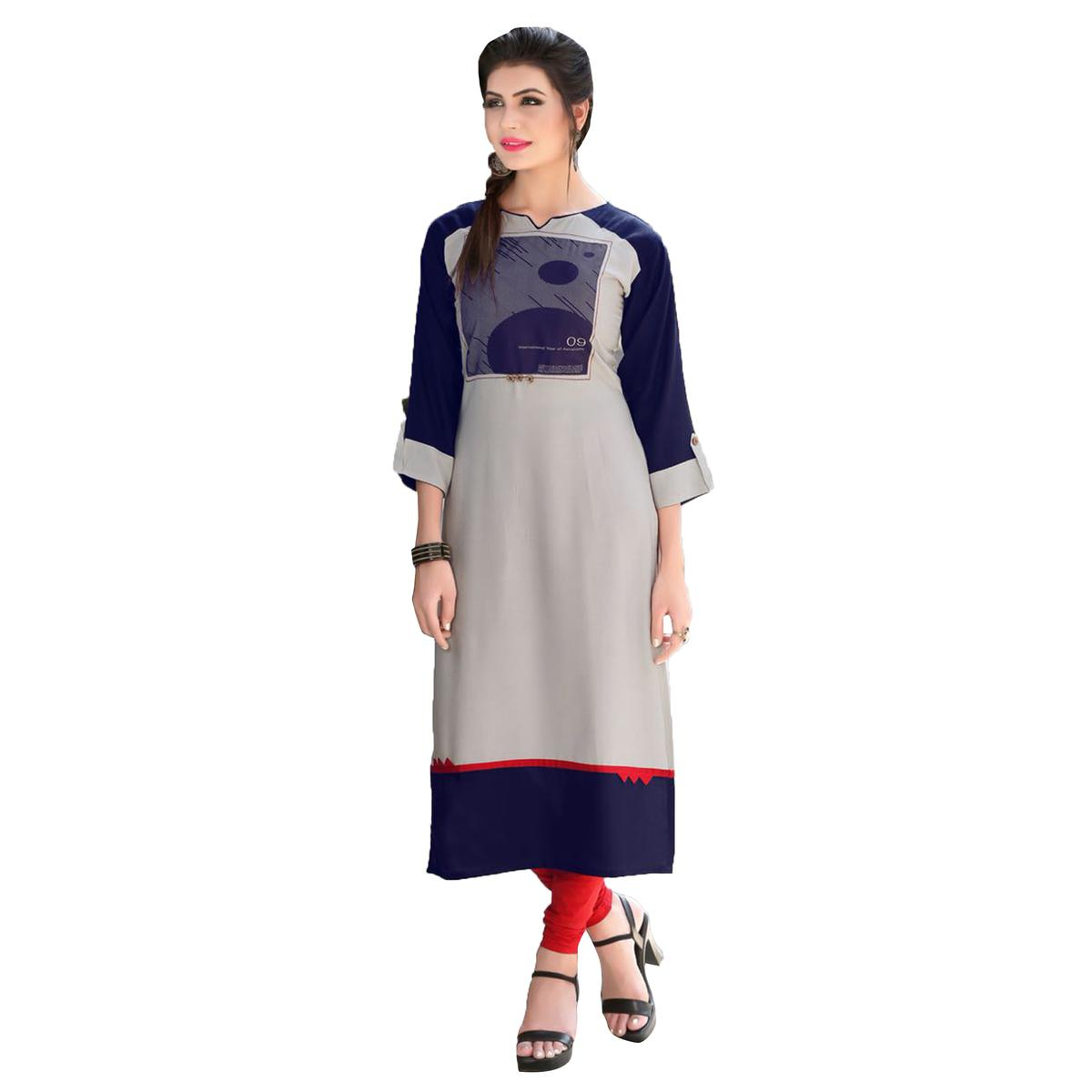 Trendy Gray-Blue Colored Casual Printed Rayon Kurti