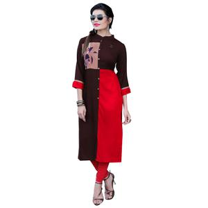 Classy Brown-Red Colored Casual Printed Rayon Kurti