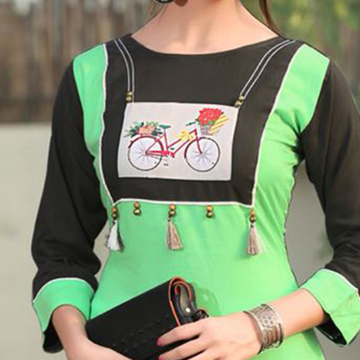 Lovely Green Colored Casual Printed Rayon Kurti