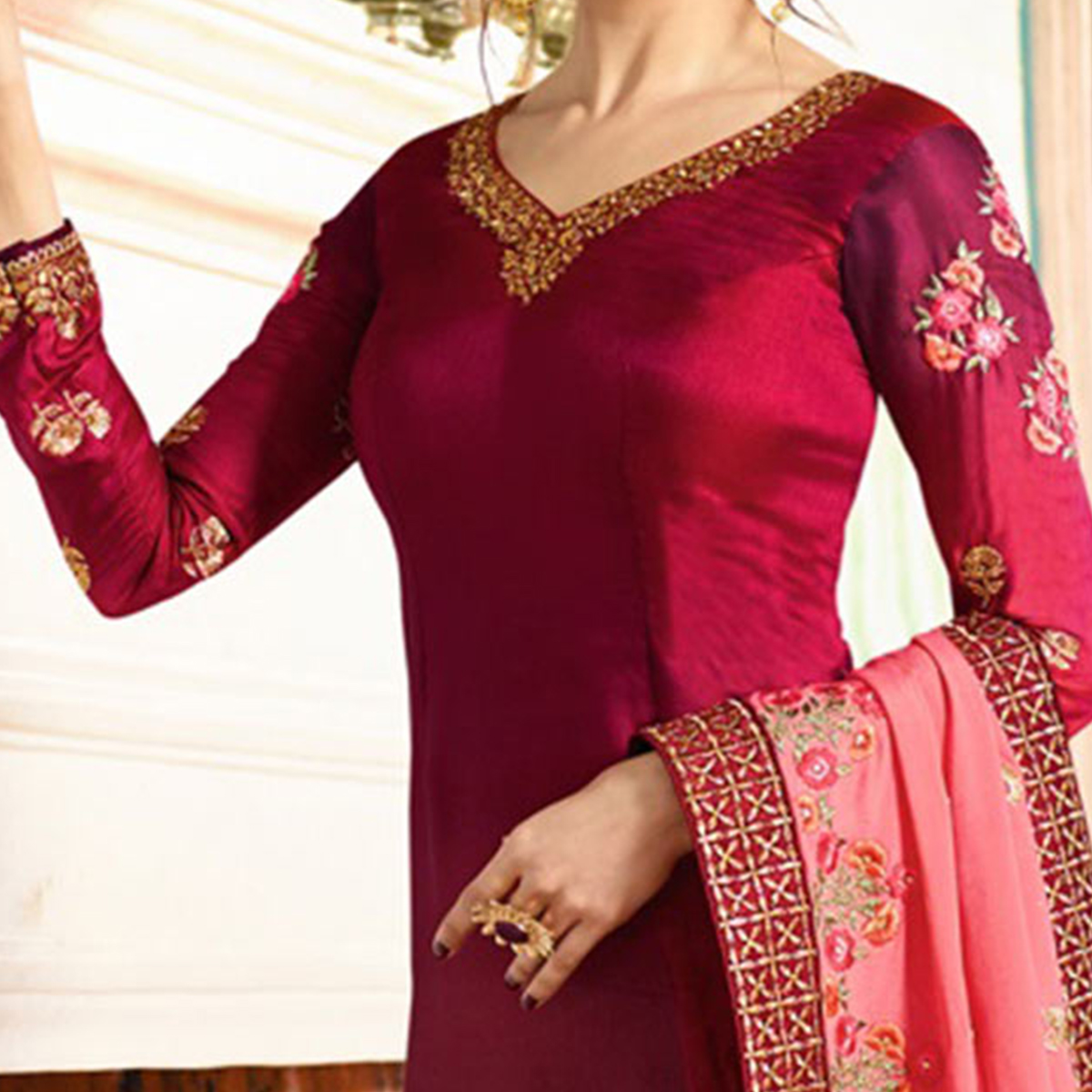 Stunning Maroon Colored Embroidered Work Party Wear Georgette Salwar Suit
