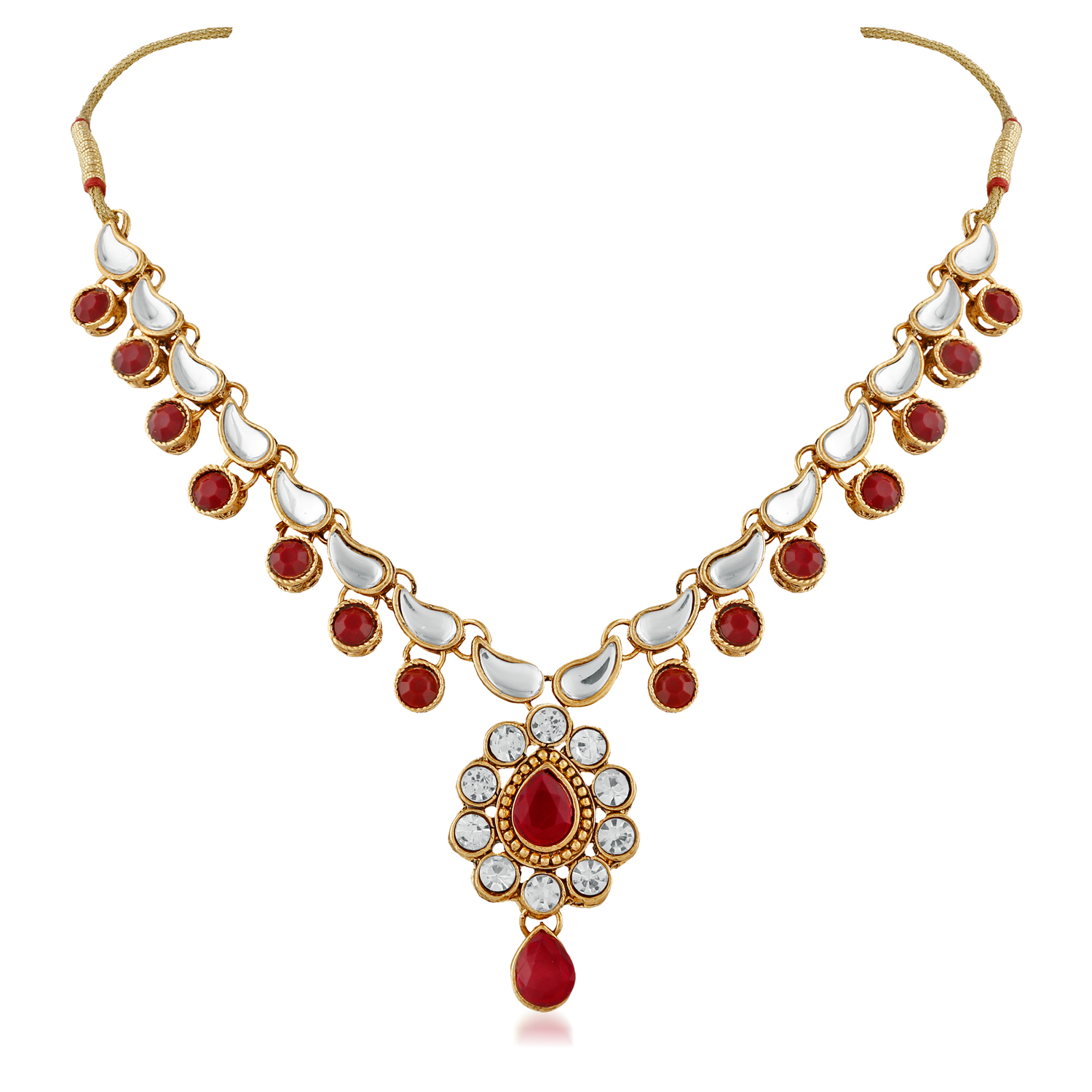 Gold Finishing Ruby Austrian Kundan And Stone Necklace Set with Maang Tikaa
