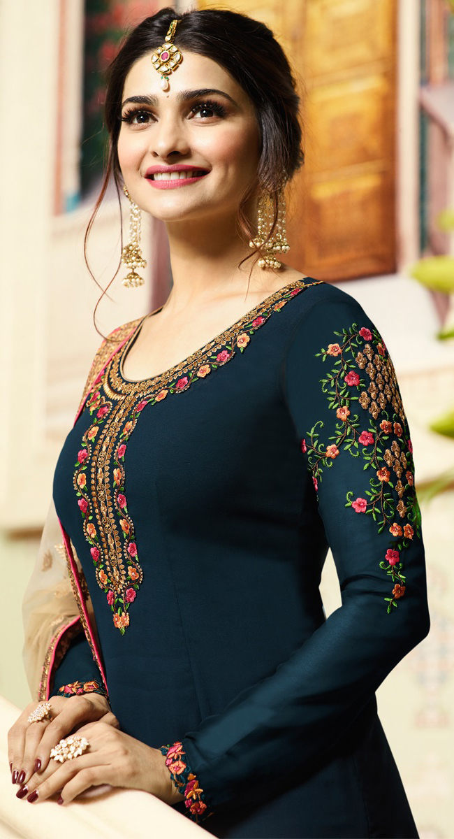 Blooming Bermuda Blue Colored Embroidered Work Party Wear Georgette Salwar Suit