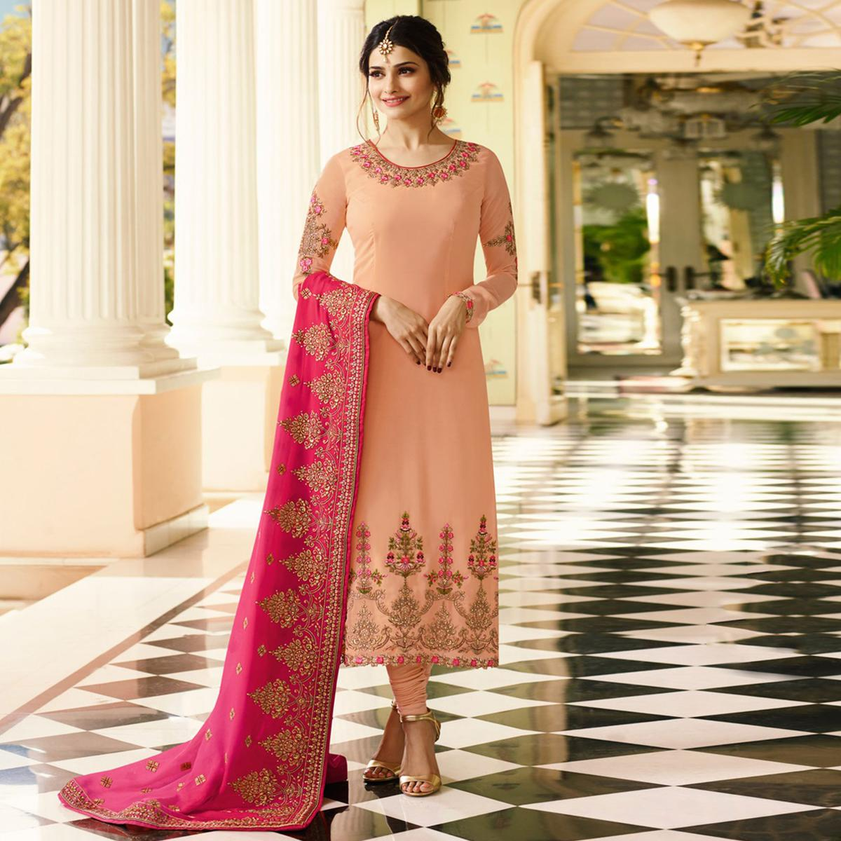 Marvellous Peach Colored Embroidered Work Party Wear Georgette Salwar Suit