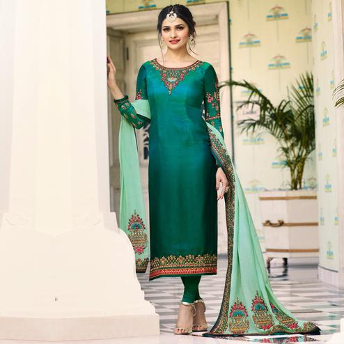 Mesmerising Green Colored Embroidered Work Party Wear Georgette Salwar Suit