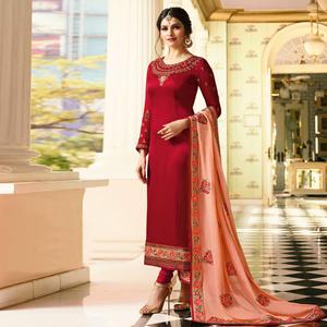 Ravishing Red Colored Embroidered Work Party Wear Georgette Salwar Suit