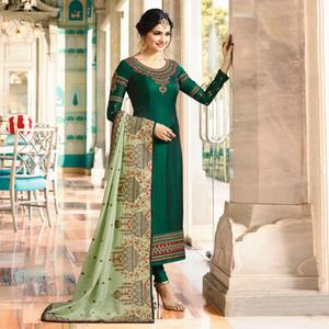 Amazing Green Colored Embroidered Work Party Wear Georgette Salwar Suit