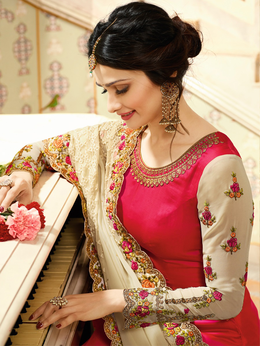 Gleaming Pink Colored Embroidered Work Party Wear Georgette Salwar Suit