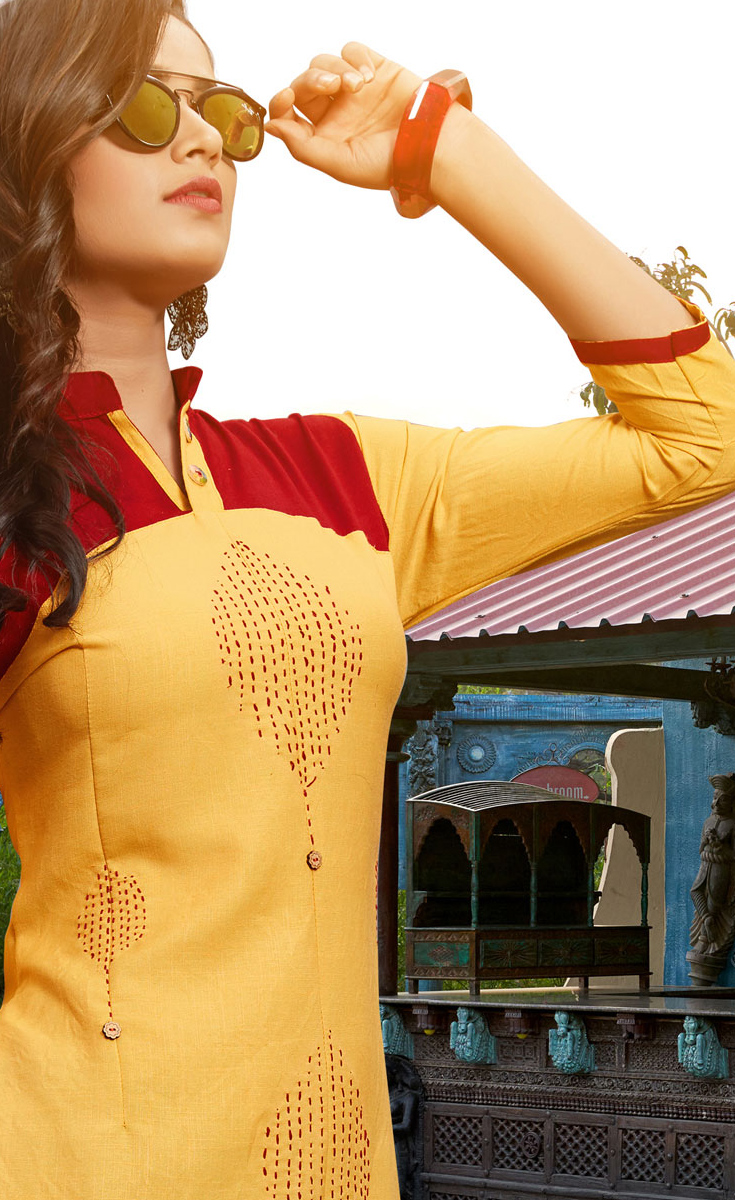 Classy Yellow Colored Casual Cotton Silk Kurti