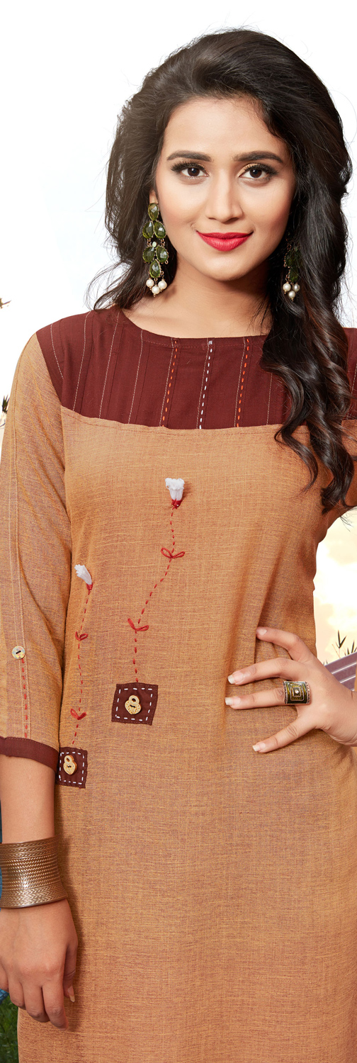 Trendy Brown Colored Casual Cotton Silk Kurti
