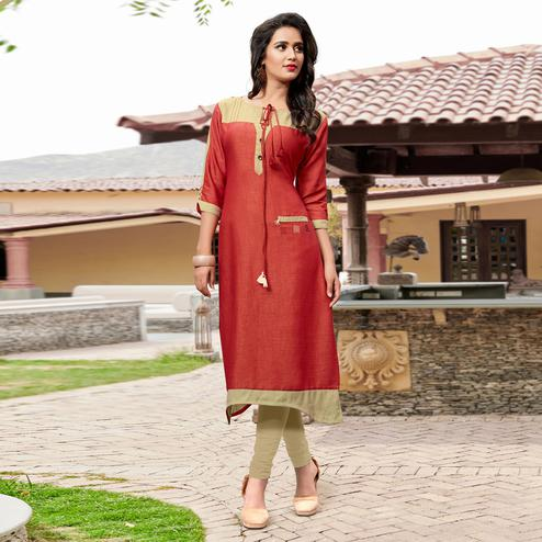 Stylish Red-Beige Colored Casual Cotton Silk Kurti