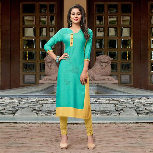 Jazzy Aqua Green Colored Casual Cotton Silk Kurti
