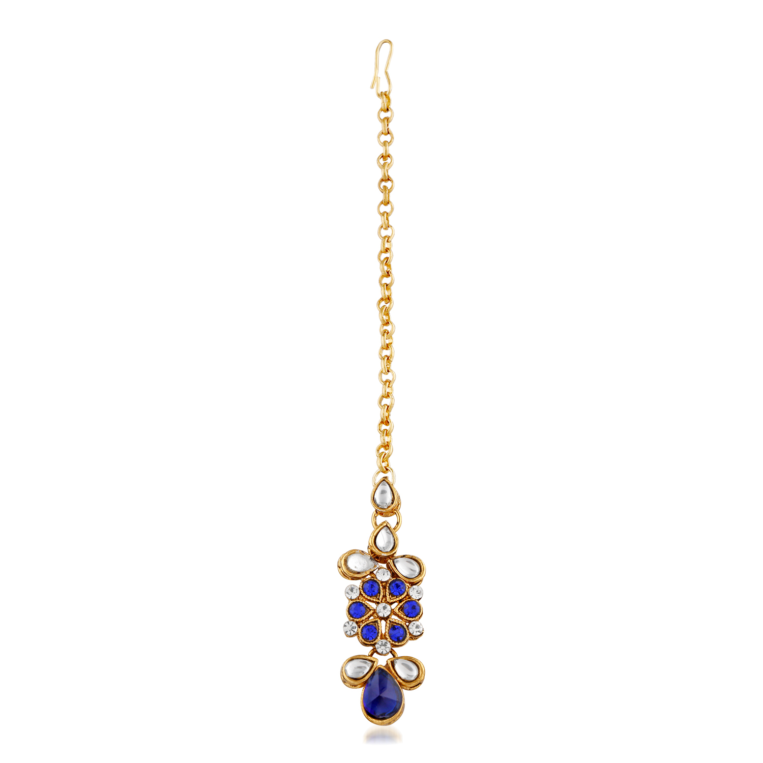 Gleaming Design Blue Stone And Kundan Gold Finishing Necklace Set with Maang Tikaa