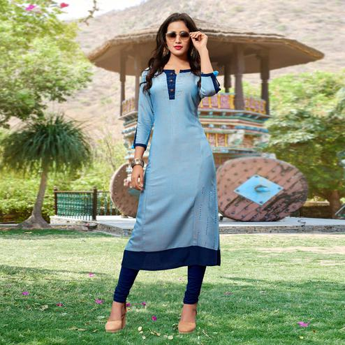 Glowing Light Blue Colored Casual Cotton Silk Kurti