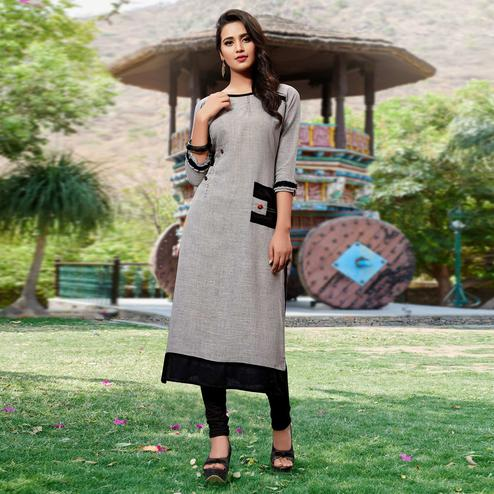 Demanding Gray Colored Casual Cotton Silk Kurti