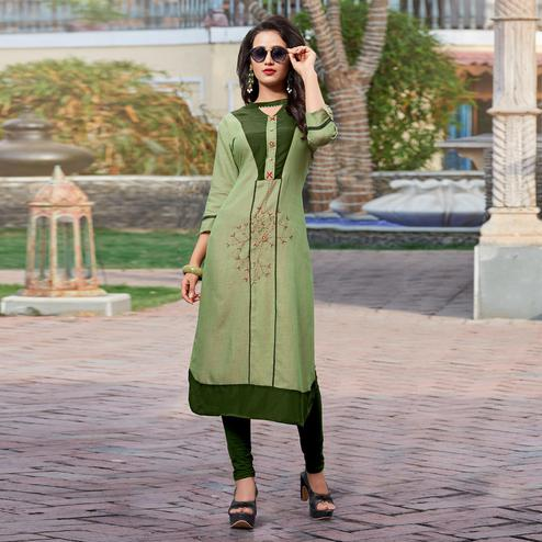 Groovy Green Colored Casual Cotton Silk Kurti