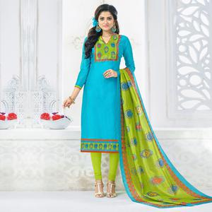 Gorgeous Sky Blue Colored Casual Printed Chanderi Silk Dress Material