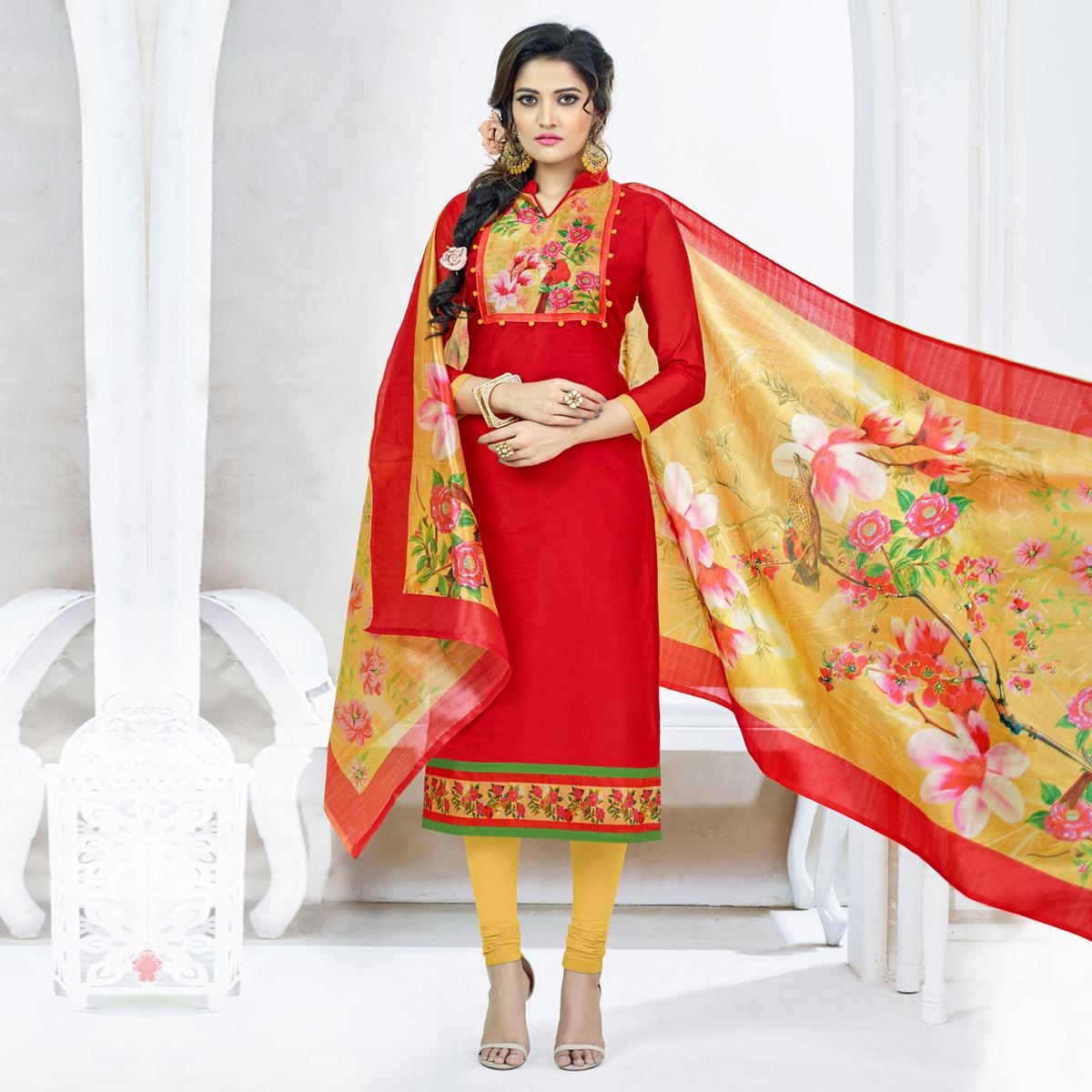 Hot Red Colored Casual Printed Chanderi Silk Dress Material