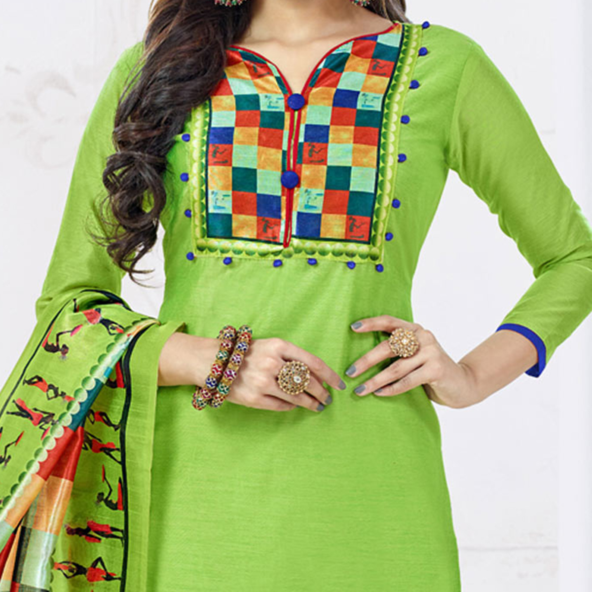 Adorning Green Colored Casual Printed Chanderi Silk Dress Material