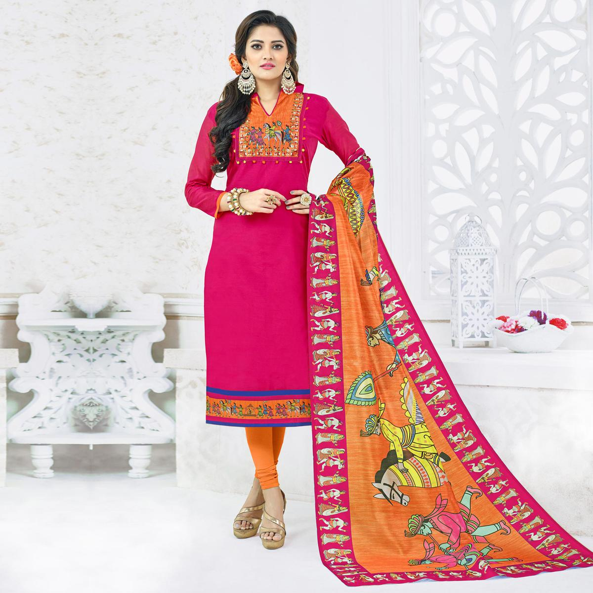 14bf1cc7dc Buy Irresistible Pink Colored Casual Printed Chanderi Silk Dress Material  for womens online India