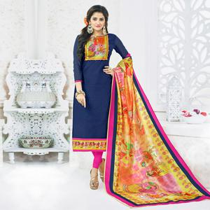 Dazzling Navy Blue Colored Casual Printed Chanderi Silk Dress Material