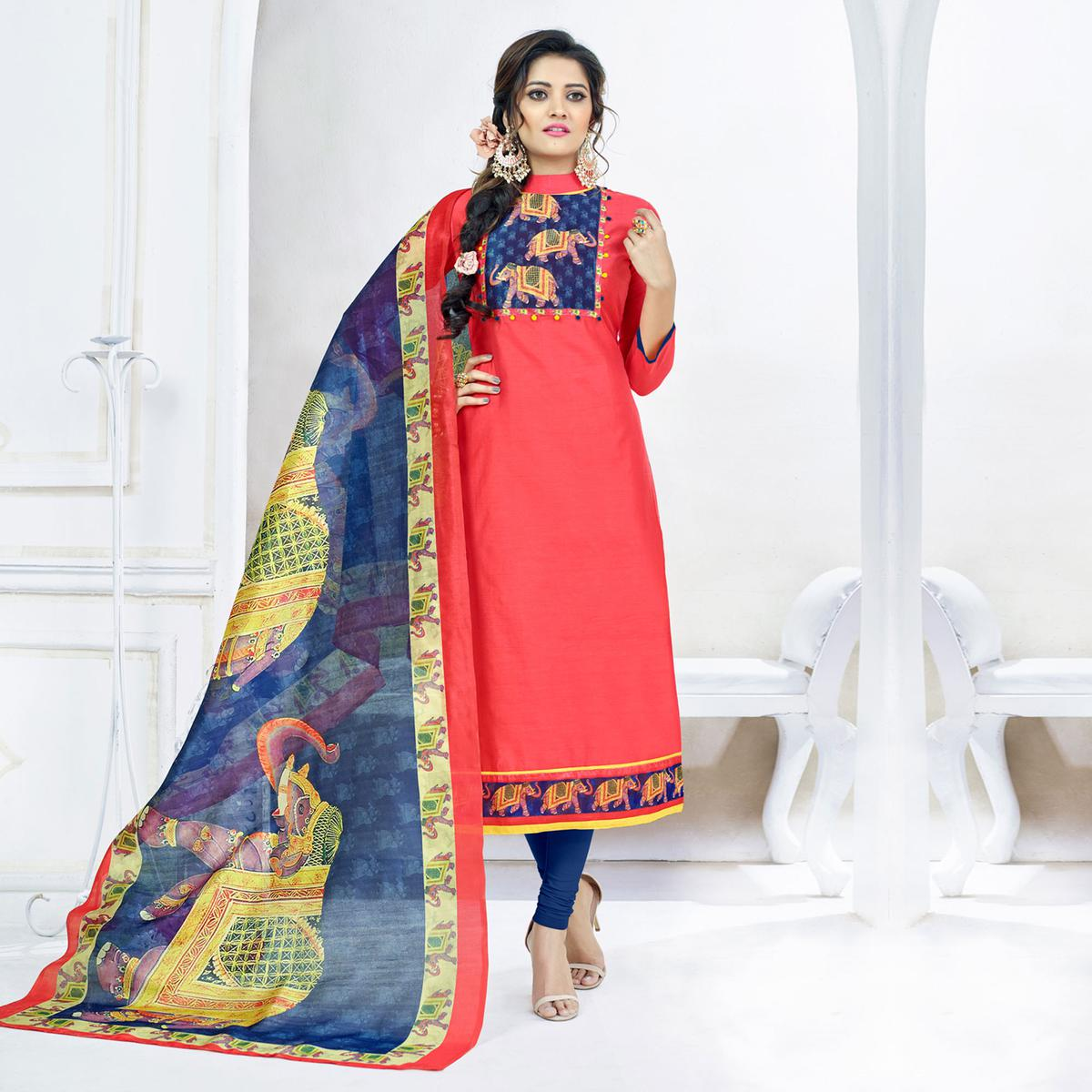 Stylish Peach Colored Casual Printed Chanderi Silk Dress Material