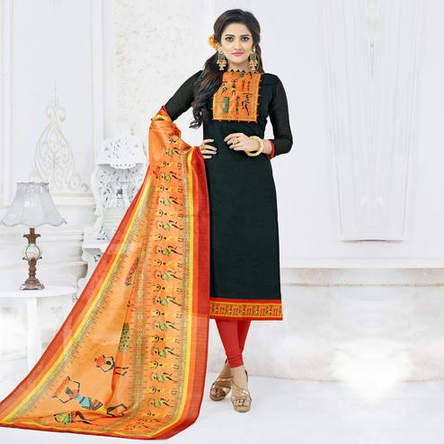Lovely Black Colored Casual Printed Chanderi Silk Dress Material
