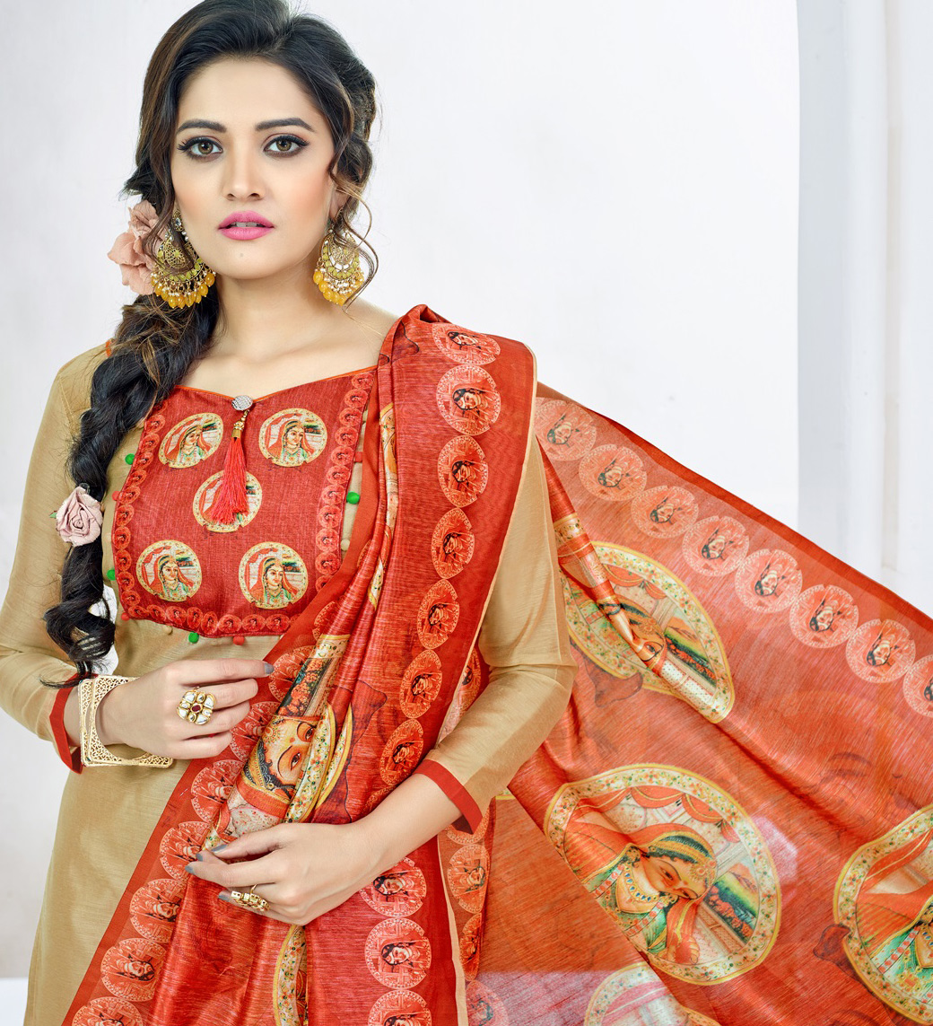 Majestic Beige Colored Casual Printed Chanderi Silk Dress Material