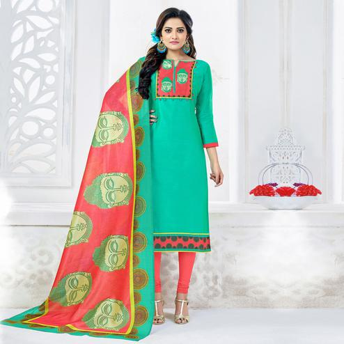 Glowing Aqua Green Colored Casual Printed Chanderi Silk Dress Material