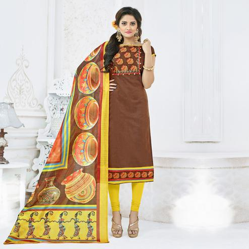 Blooming Brown Colored Casual Printed Chanderi Silk Dress Material
