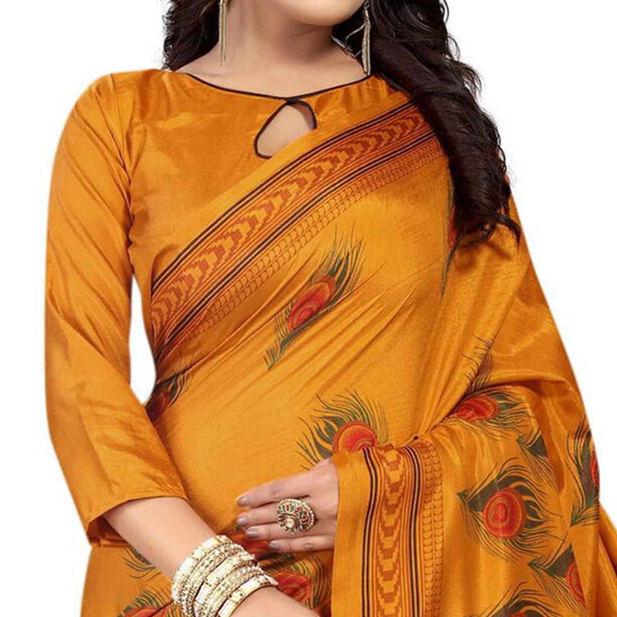 Glowing Yellow Colored Festive Wear Printed Art Silk Saree