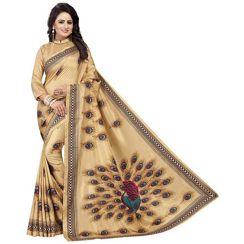 Pleasant Beige Colored Festive Wear Printed Art Silk Saree