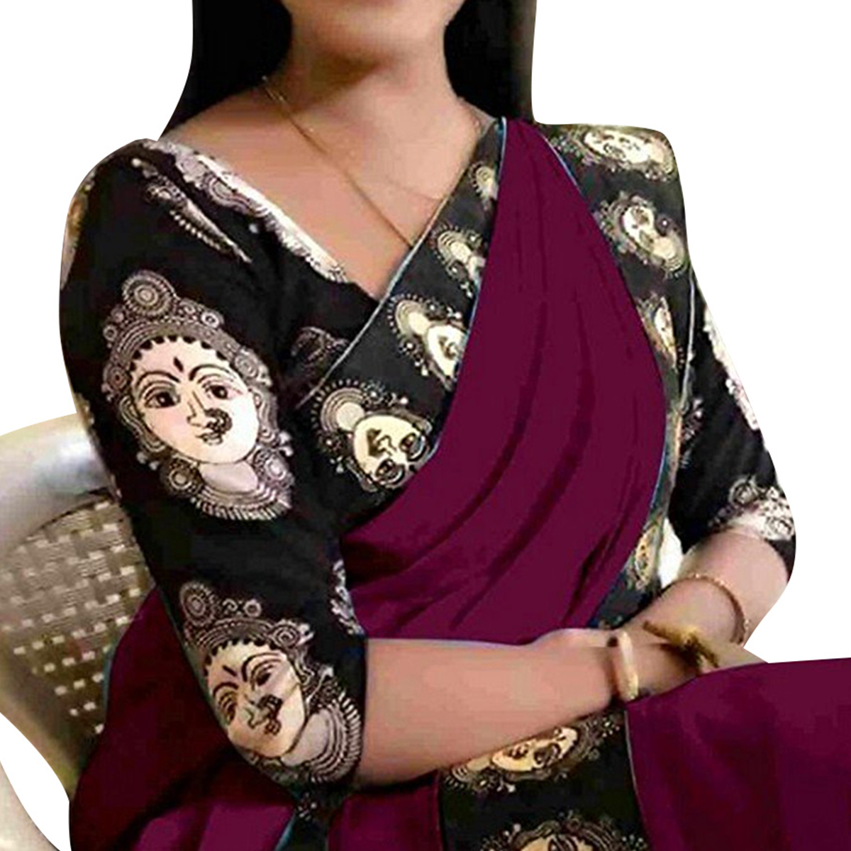 Exceptional Wine Colored Casual Wear Chanderi Silk Saree