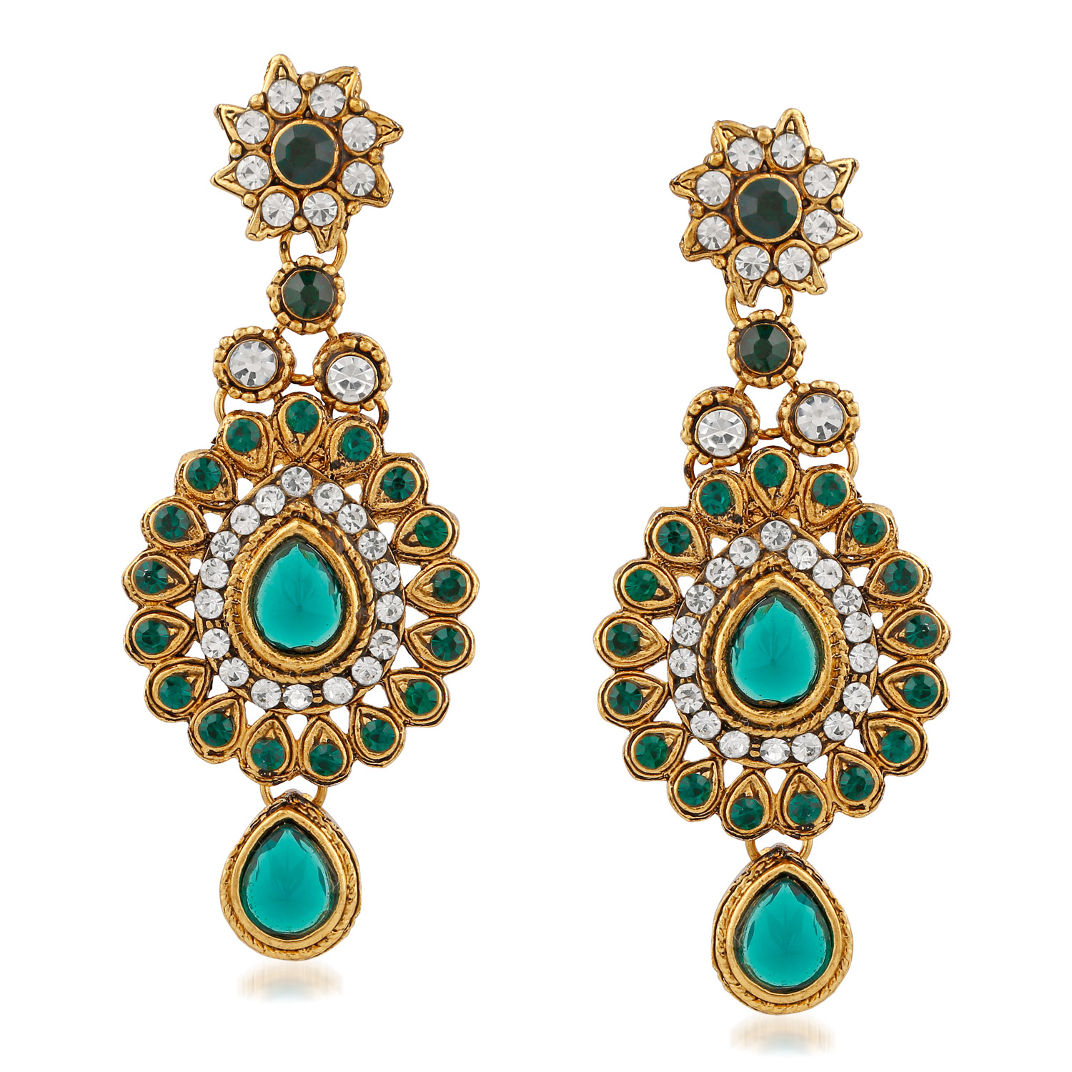 Green Classy Austrian Diamond And Kundan Gold Finishing Necklace Set with Maang Tikaa
