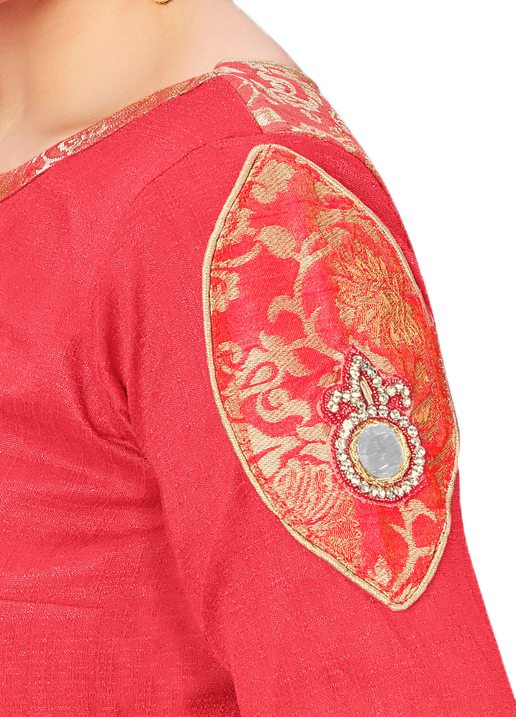 Blooming Peach Colored Printed Jacquard Silk Blouse