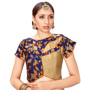 Blowing Navy Blue-Golden Colored Printed Jacquard Silk Blouse