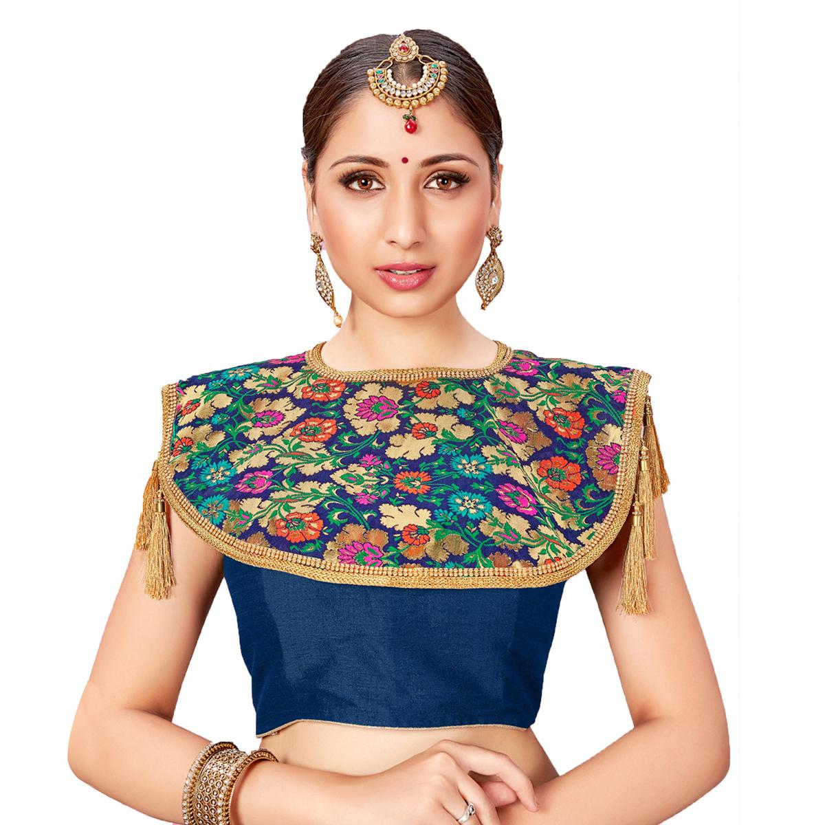 Charming Navy Blue Colored Printed Jacquard Silk Blouse