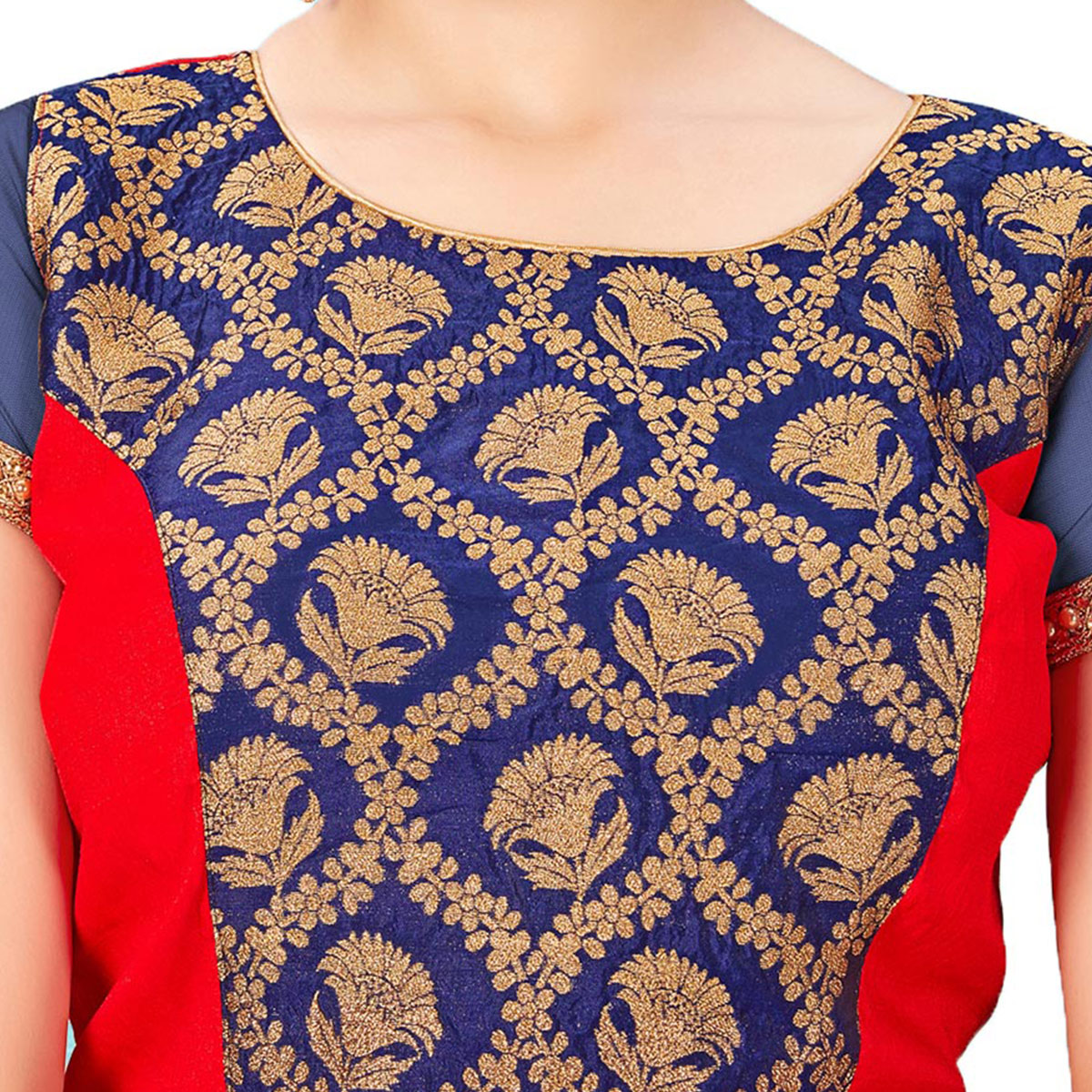 Irresistible Navy Blue-Red Colored Printed Jacquard Silk Blouse