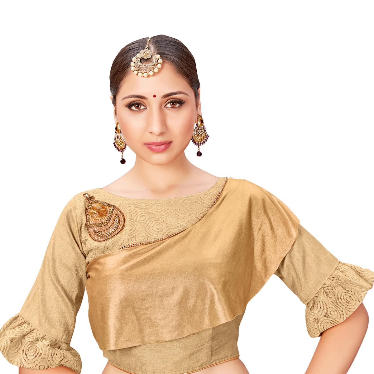 Demanding Beige Colored Printed Jacquard Silk Blouse