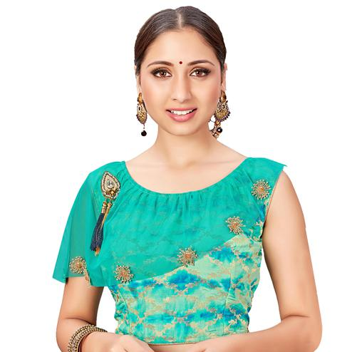 Glowing Turquoise Green Colored Printed Jacquard Silk Blouse