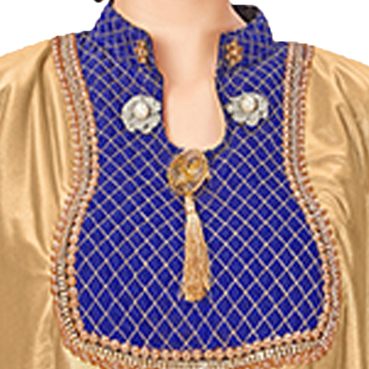 Gorgeous Golden-Navy Blue Colored Printed Jacquard Silk Blouse