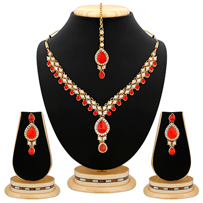 Red Excellent Design Stone & Kundan Gold Finishing Necklace Set with Maang Tikaa