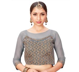 Trendy Gray Colored Printed Jacquard Silk Blouse