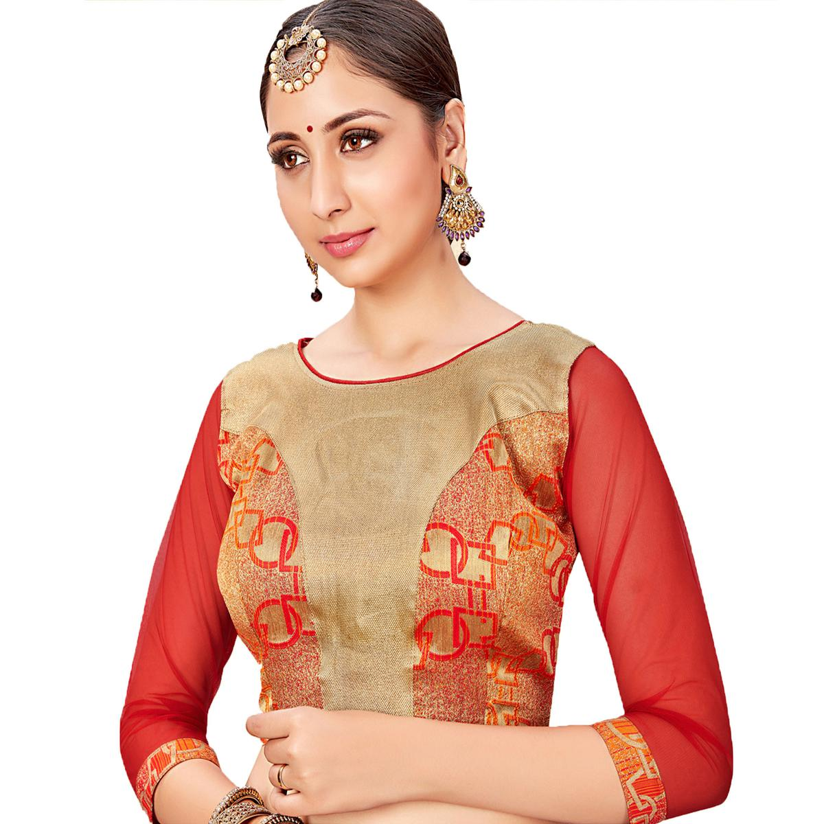 Arresting Red-Golden Colored Printed Jacquard Silk Blouse
