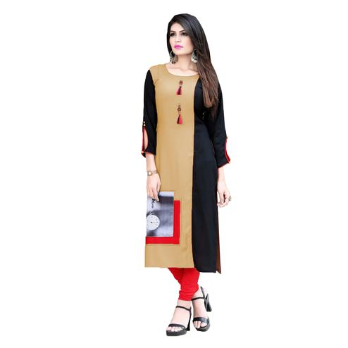 Elegant Beige Colored Casual Printed Rayon Kurti
