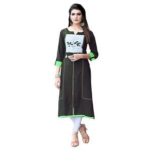 Stylish Green Colored Casual Printed Rayon Kurti